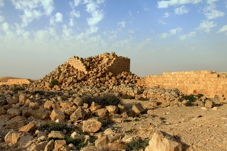 inhabited: Ruins of Avdat - ancient town founded and inhabited by Nabataeans in desert of Negev in Israel.ins of Avdat - ancient town founded and inhabited by Nabataeans in desert of Negev in Israel.