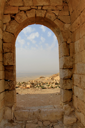 Negev Desert landscape view from the ancient city of Avdat, Israel.