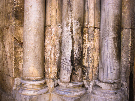 sepulchre: Columns at the entrance to Church of the Holy Sepulchre - main pilgrimage destination contains Golgotha and the Tomb of Jesus Christ in Jerusalem, Israel Stock Photo
