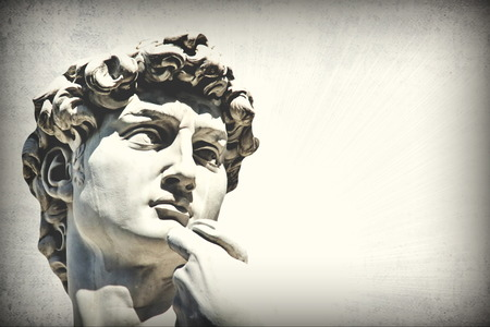 Grunge detail  of Michelangelos David statue with   place for your design or text