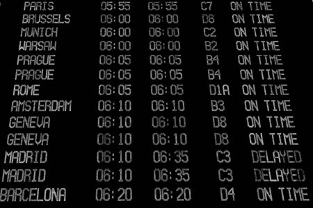 display problem: Display with schedule of aircraft departure. Black and white Stock Photo