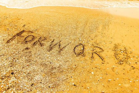 The word  FORWARD written on a sandy beach in bold. Stock Photo