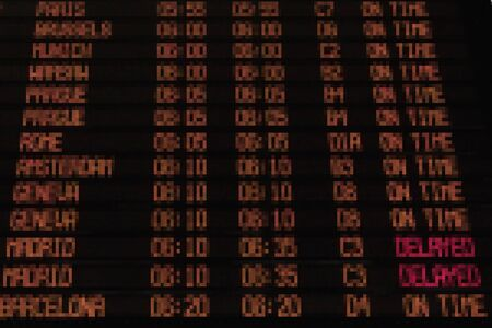 departing: Display with schedule of aircraft departure.