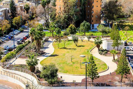 ramat aviv: The courtyard between the houses in the modern area of Tel Aviv