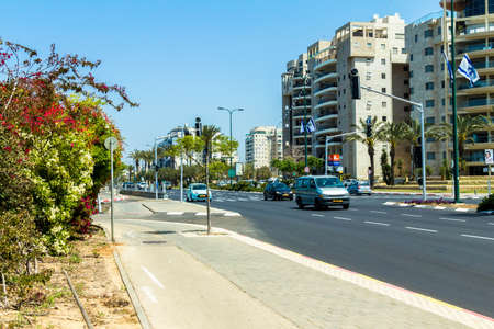 ramat aviv: Levi Eshkol , one of the busiest streets in the northern part of the Tel Aviv Editorial