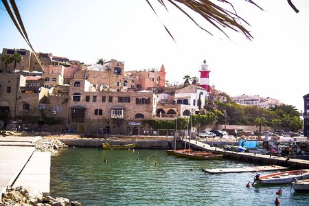 jaffo: Panoramic view of Old Jaffa historic buildings and ancient port mooring. Ancient Jaffa is popular tourist site for citezens and visitors of Israel