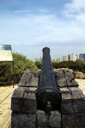 holyland: Napoleons cannon in old Jaffa abandoned during the unsuccessful campaign of Napoleon in the Africa and Middle East.