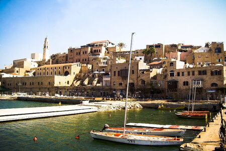 tourist site: Panoramic view of Old Jaffa historic buildings and ancient port mooring. Ancient Jaffa is popular tourist site for citezens and visitors of Israel