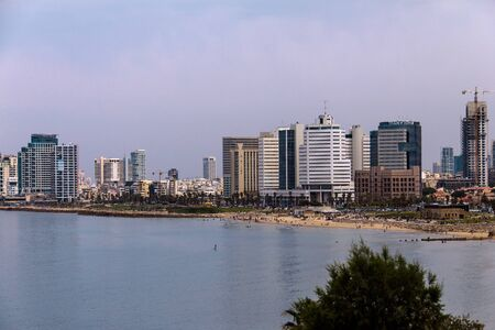 jaffa: Sea coast and the view of the Tel Aviv from Old Jaffa. Israel