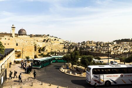 holiest: Al Aqsa Mosque, the third holiest site in Islam, with Mount of Olives in the background in Jerusalem, Israel.