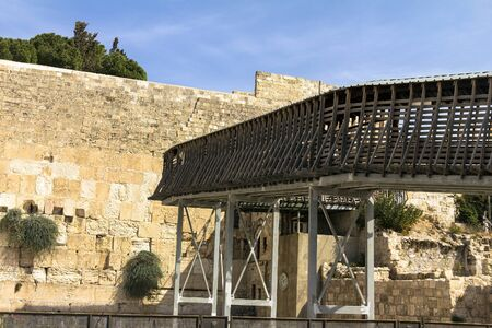rickety: Rickety wooden bridge - the only  one way to the Temple Mount to Jews and Christians. Jerusalem. Israel