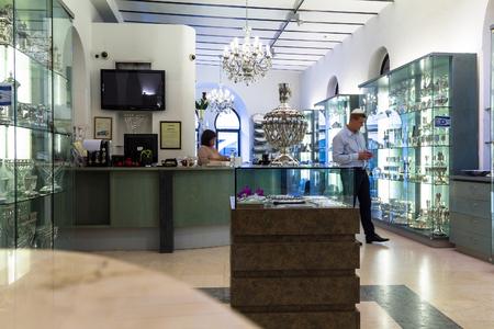 judaic: Unidentified jewish  tourist in  Judaic store on Mamilla street. Jerusalem. Israel