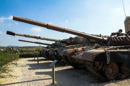 firepower: Russian made tanks  was captured by IDF troops during Yom Kippur War1973 on display at Yad La-Shiryon Armored Corps Museum at Latrun. Israel