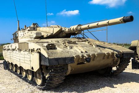 mk: Israel made main battle tank Merkava  Mk II on display at Yad La-Shiryon Armored Corps Museum at Latrun. Israel Editorial