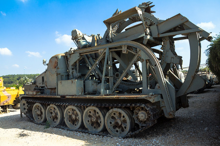 yom kippur: Soviet BTM High speed ditching machine was captured by IDF troops during Yom Kippur War1973 from Syrian army in Golan Heights on display at Yad La-Shiryon Armored Corps Museum at Latrun. Israel