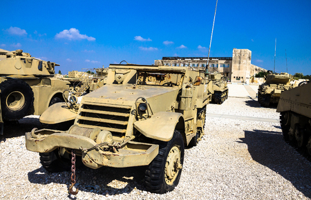 israel war: M3 half-track  carrier on display at Yad La-Shiryon Armored Corps Museum at Latrun . Israel used this armored personnel carrier during  War of Independence. Latrun, Israel