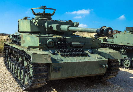 Panzer: German made Panzer PzKpfw IV medium battle tank captured by IDF on Golan Heights in 1967 on display at Yad La-Shiryon Armored Corps Museum at Latrun. Israel