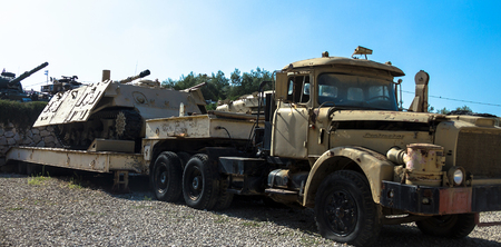 hull: Truck and Trailer Contractor with Sherman Hull  Monster-live target in order to train gunners on display at Yad La-Shiryon Armored Corps Museum at Latrun. Israel