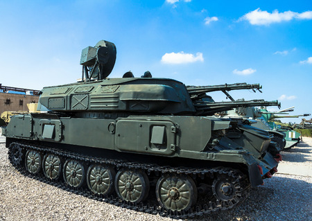 captured: Russian made ZSU-23-4 Shilka self-propelled, radar guided anti-aircraft weapon system captured from the Syrian army at Yad La-Shiryon Armored Corps Museum at Latrun. Israel