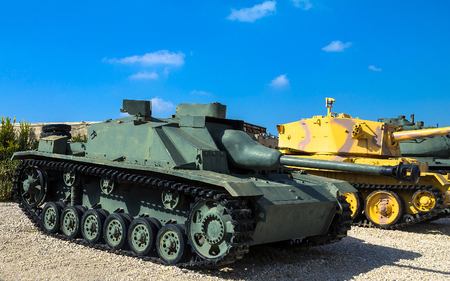 captured: German made tank destroyer Sturmgeschutz III captured by IDF from Syrian Forces in 1967 on display at Yad La-Shiryon Armored Corps Museum at Latrun. Israel