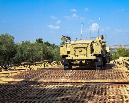 pontoon: M3 half-track carrier on Pontoon bridge on display at Yad La-Shiryon Armored Corps Museum at Latrun.  Israel