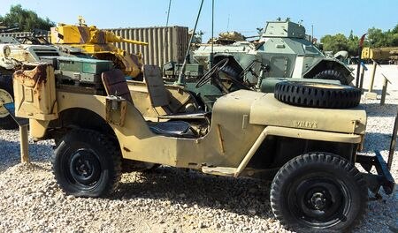 mb: Willys MB or U.S. Army Truck and  Ford GPW are four-wheel drive utility vehicles that were manufactured during World War II on display at Yad La-Shiryon Armored Corps Museum at Latrun. Israel Editorial