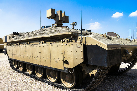 armored: Israeli made Namer Heavy Armored Personnel Carrier on display at Yad La-Shiryon Armored Corps Museum at Latrun. Israel