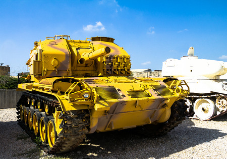 captured: M52 self propelled gun captured by IDF during Six Day War from Jordanian army on display at Yad La-Shiryon Armored Corps  Museum at Latrun. Israel Editorial