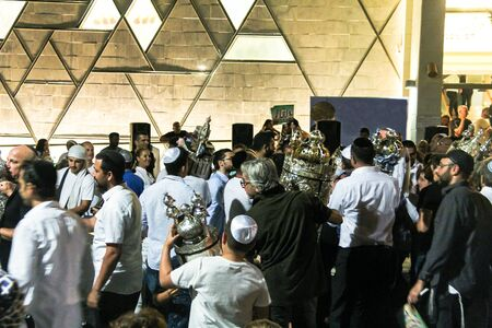 simchat torah: Unidentified jewish  dance with Bible scrolls during the ceremony of Simhath Torah. Tel Aviv. Israel