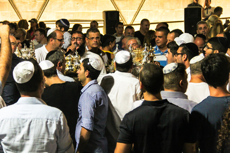 holiday prayer book: Unidentified jewish people on ceremony of Simhath Torah. Tel Aviv. Israel