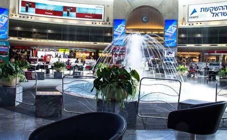 best security: Central hall with fountain at Ben Gurion International Airport  one of the best safety and tight security in the industry of the world. Tel Aviv. Israel Editorial