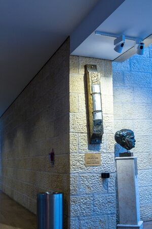 mezuzah: Big Mezuzah  and  sculpture of David Ben-Gurion at Ben Gurion Airport, named in his honour. Tel Aviv. Israel