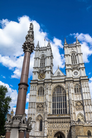 church bells: University Church of St Peter at Westminster Abbey on blue sky background. London. UK