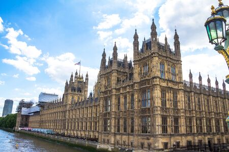 city of westminster: Palace of Westminster fragment (known as Houses of Parliament) located on bank of River Thames in City of Westminster. London, UK. Editorial