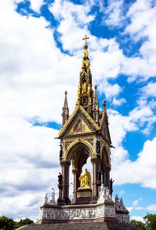 queen's theatre: Albert Memorial in London situated in Kensington Gardens, directly to the north of the Royal Albert Hall. Opened in July 1872 by Queen Victoria. London. UK