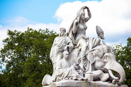 john henry: Allegorical sculpture Asia by John Henry Foley representing continent of Asia in Prince Albert Memorial near Kensington Gardens in London. UK