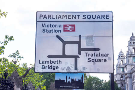 parliament square: Road sign on Parliament Square near Westminster Palace  London. UK Editorial