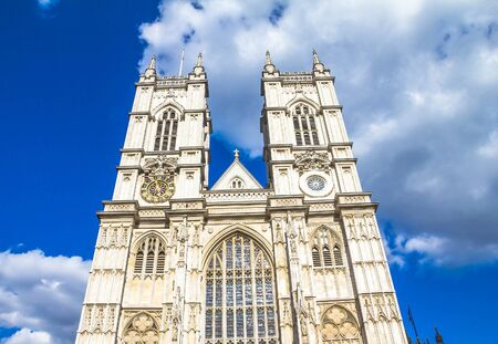 st  peter: University Church of St Peter at Westminster Abbey on blue sky background. London. UK