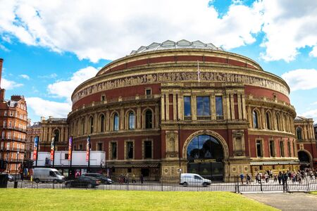 kensington: Royal Albert Hall of Arts and Sciences, large prestigious  concert hall on the northern edge of South Kensington  in late afternoon daylight. London. UK