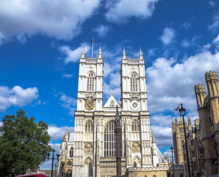 typically british: University Church of St Peter at Westminster Abbey on blue sky background. London. UK