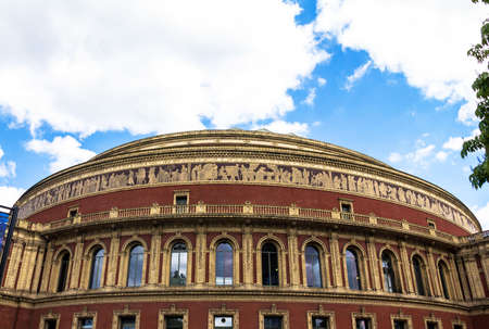 prestigious: Royal Albert Hall of Arts and Sciences, large prestigious  concert hall on the northern edge of South Kensington, London, UK,  in late afternoon daylight. London. UK