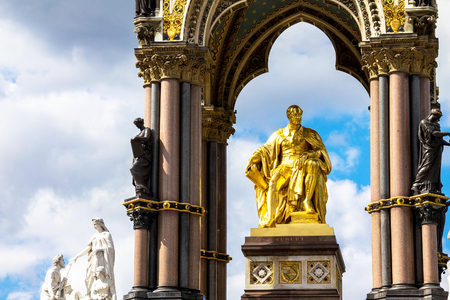 queen's theatre: Detail of Albert Memorial in London situated in Kensington Gardens, directly to the north of the Royal Albert Hall. Opened in July 1872 by Queen Victoria
