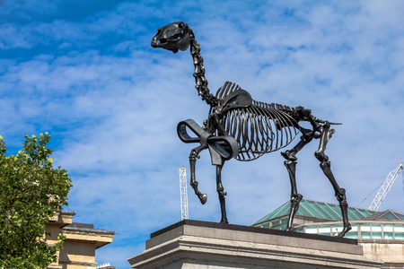 plinth: Hans Haackes Gift Horse; the skeletal statue is derived from a George Stubbs etching and is on temporary display on the fourth plinth in Trafalgar Square. London, UK