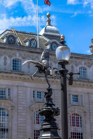 angel statue: Eros Statue at Piccadilly Circus, London, UK Editorial