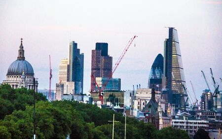 south london: Cityscape from South Bank of the Thames. London, England