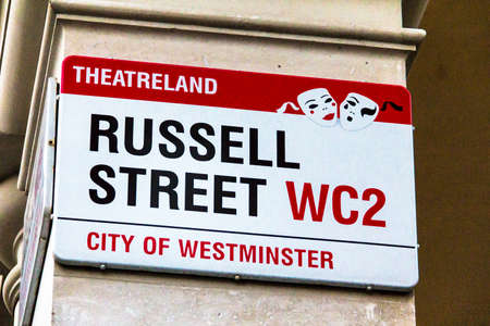 westminster city: Russell Street sign in City of Westminster on white at Central part of city. London, UK