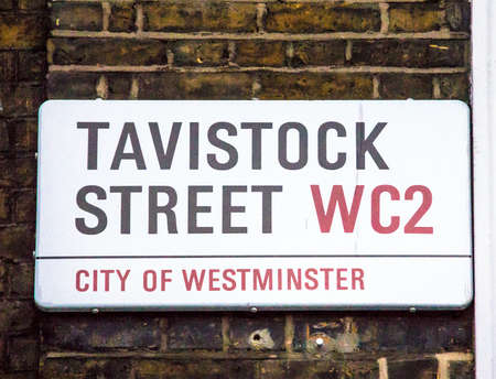 city of westminster: Tavistock street sign in City of Westminster at Central London, United Kingdom Editorial