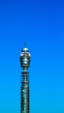 high frequency: BT London Telecom Tower, popular landmark with revolving restaurant near the top, giving panoramic views of the area. London, UK Editorial