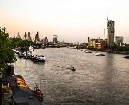 river thames: London Cityscape with St Pauls Cathedral and River Thames at dusk. England. UK