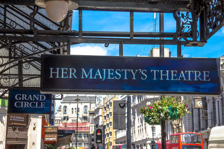 westend show: Outside view of Her Majestys Theatre, located on Haymarket, City of Westminster, since 1705, designed by Charles J. Phipps, London, UK. Editorial